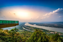 Glass Sky Walk And The Mekong River That Borders Thailand And Laos Background At Wat Pha Tak Suea, Nongkai, Thailand.