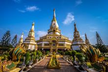 Chai Mongkol Chedi Pagoda In Wat Pha Nam Thip Prasit Wanaram, Landmark At Roi Et Province, Thailand.