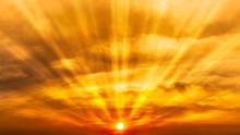 Panoramic Orage Sky And  Blazing Sun Nature Background