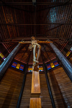 YASOTHON, THAILAND - APRIL 1, 2019 : The Largest Wooden Christian Church In Thailand And Up To 100 Years Old, Ban Song Yaeng Church, Yasothon Province, Built In Thai Style..