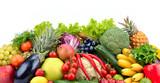 Fototapeta Fototapety do kuchni - Useful tasty vegetables, fruits and berries isolated on white background.