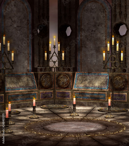 Valokuva Magic circle room with chandeliers – 3D illustration