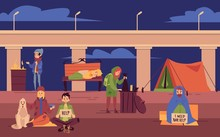 Young Homeless People Spending Night Outdoors Under Bridge Cartoon Style