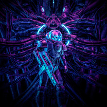 Guardian Of The Temple / 3D Illustration Of Science Fiction Scene Showing Evil Skull Faced Astronaut Space Soldier With Laser Pulse Rifle Surrounded By Alien Machinery