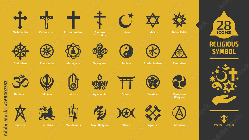 Fototapety, obrazy: Religious symbol icon set on a yellow background with christian cross, islam crescent and star, judaism star of david, buddhism wheel of dharma, rastafari lion religion glyph sign.