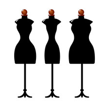 Three Old Cracked Female Body Shape Mannequins. Torso Dummy For Woman Tailor Mannequins. Three Types Of Female Figure. Isolated On White Background