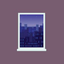 Window View To Night City Under Starry Sky