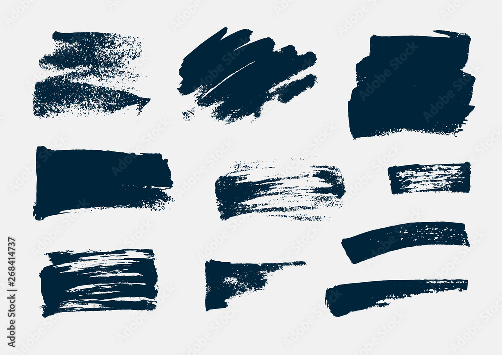 Fototapeta Monochrome abstract vector grunge textures. Set of hand drawn paint brush strokes and stains.