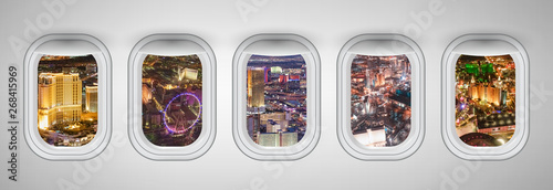 Tuinposter Las Vegas Las Vegas night aerial skyline as seen through five aircraft windows. Holiday and travel concept
