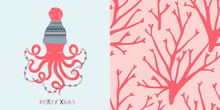 Underwater Coral Merry Christmas Concept Graphics Set In Decorative Scandinavian Style. Fairy Christmas Octopus In Jacquard Winter Hat With Decorative Garland Vector Illustration. Simple Flat Ocean