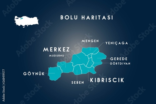 Bolu districts mudurnu, goynuk, seben, kibriscik, dortdivan, gerede, yenicaga, m Canvas Print