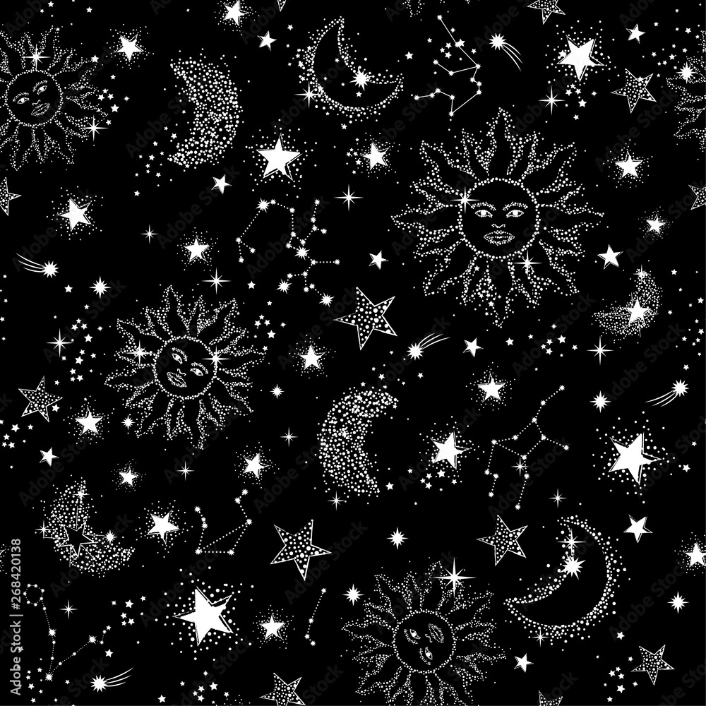Fototapety, obrazy: Space Galaxy constellation seamless pattern print could be used for textile, zodiac star yoga mat, phone case