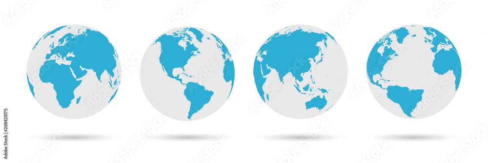 Fototapety, obrazy: Globe Icon Set - Round World Map Vector Flat