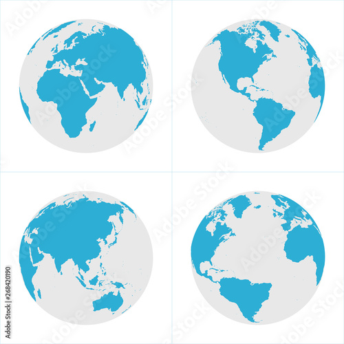 Globe Icon Set - Round World Map Vector Flat Canvas Print