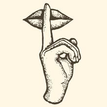 Sign Silence Hand Finger Symbo...