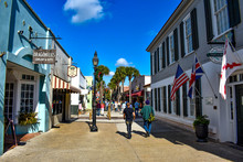 St. Augustine, Florida. January 26 , 2019 . People Enjoying Colonial Experience In St. George St. In Old Town At Florida's Historic Coast (1)