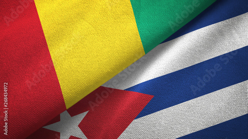 Photo  Guinea and Cuba two flags textile cloth, fabric texture