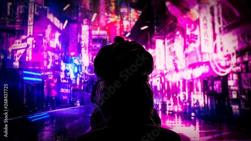 cyber punk neon dog - 268437725