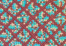 Background Texture-colorful Homemade Crocheted Afghan Blanket Pattern