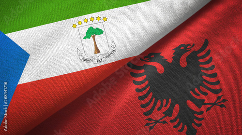 Fotomural  Equatorial Guinea and Albania two flags textile cloth, fabric texture