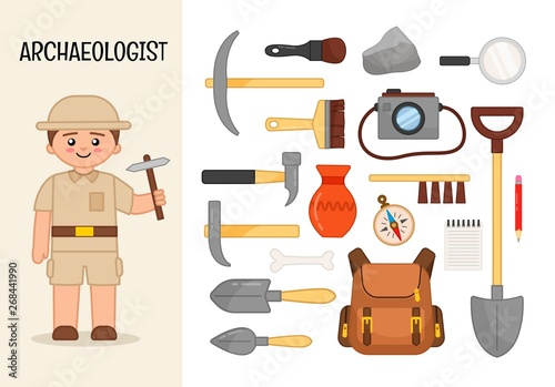 Vector character archaeologist Wallpaper Mural