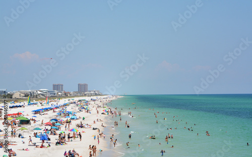 Beach goers at Pensacola Beach in Escambia County, Florida on the Gulf of Mexico Wallpaper Mural