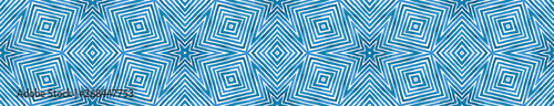 Poster Boho Stijl Blue Seamless Border Scroll. Geometric Watercolor
