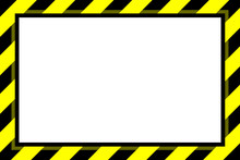 Warning Sign Yellow Black Stripe Frame Template Background Copy Space, Banner Frame Striped Awning Yellow, Stripe Frame For Advertising Promotion Special Sale Discount On Media Online Beauty Products