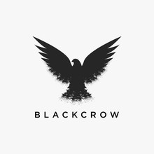 Vintage Dirty Retro Hipster Flying Crow Logo Icon Vector Design On White Background