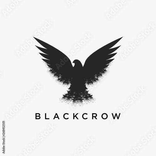Fotografija Vintage dirty retro hipster flying crow logo icon vector design on white backgro