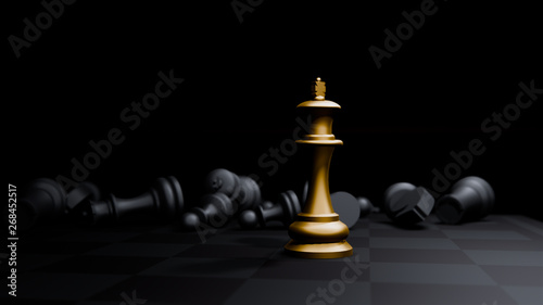 Fotografie, Obraz  golden bishop chess board game and, strategy ideas concept business background,3
