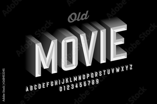 Photo  Old movie style vintage font design, retro style alphabet letters and numbers