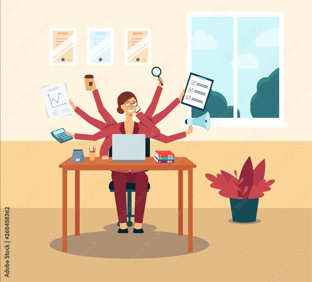 Fototapeta Multitasking business woman or manager with several hands flat vector illustration.