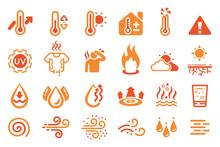 Hot Temperature Reaction Icon. Heat Weather Element.