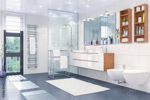 Photo 3d Illustration - Modernes Badezimmer in weiß mit Dusche, WC, Bidet, zwei Waschb