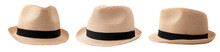 Summer And Beach Fashion, Personal Accessories And Holiday Head Wear Concept Theme With Multiple Straw Hats Or Fedoras With A Black Strap Or Ribbon Isolated On White Background With A Clip Path Cutout