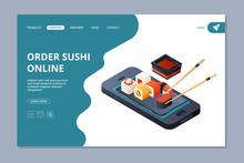 Food Delivery. Sushi Seafood Landing Website Page Design Template Online Delivery Vector Business Landing. Illustration Of Roll Seafood Order Online
