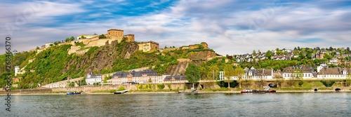 Fotografie, Obraz  Panorama Koblenz Rhein Festung Ehrenbreitstein