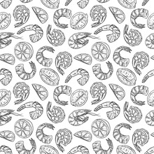 Seamless Pattern With Shrimp And Lemon Slices