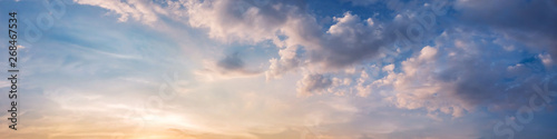 Dramatic panorama sky with cloud on sunrise and sunset time Canvas-taulu