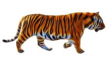 Fractal Image Of A Tiger On White