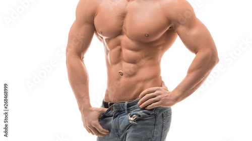 Fotografie, Tablou  male fitness model isolated on white. Perfect abs.