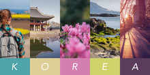 Conceptual Collage,  Travel To South Korea, Several Vertical Images For Your Design, With Space For Text.