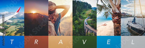 Fototapeta Travel concept background. Summer concept.  Header format with copyspace, vertical stories obraz