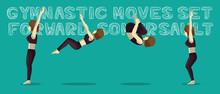 Gymnastic Moves Set Forward Somersault Manga Cartoon Vector Illustration