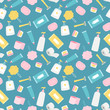 Hygiene products and accessorises vector seamless pattern. Hygiene pattern accessories, product cream and soap illustration