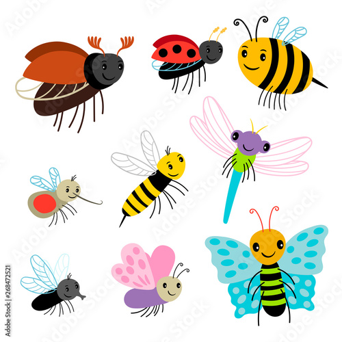 Fotografie, Obraz  Flying insects vector collection - cartoon bee, butterfly, lady bug, dragonfly isolated on white background