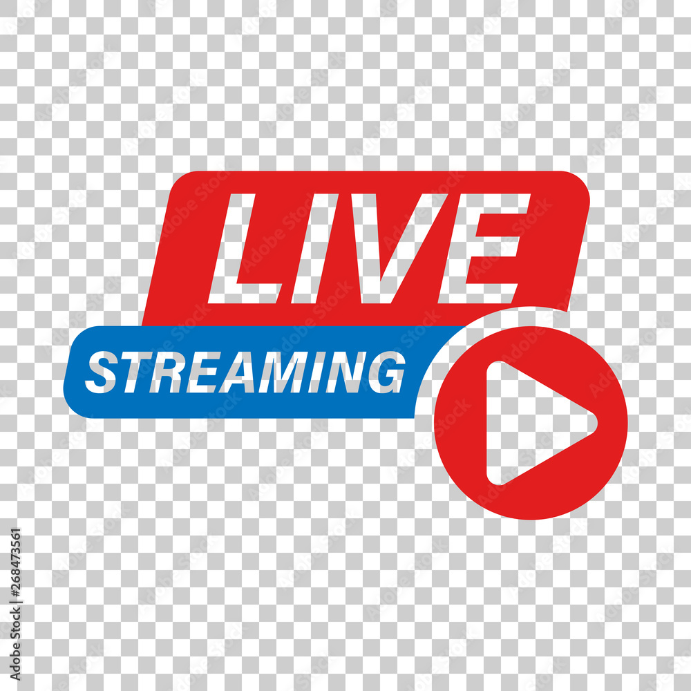 Fototapeta Live video icon in transparent style. Streaming tv vector illustration on isolated background. Broadcast business concept.