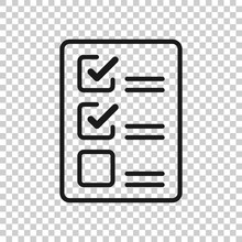 Checklist Document Sign Icon In Transparent Style. Survey Vector Illustration On Isolated Background. Check Mark Banner Business Concept.