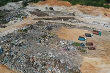 Landfill Outside Kuala Lumpur, Malaysia. Aerial Drone Photo Of Plastic Pollution Environmental Problem